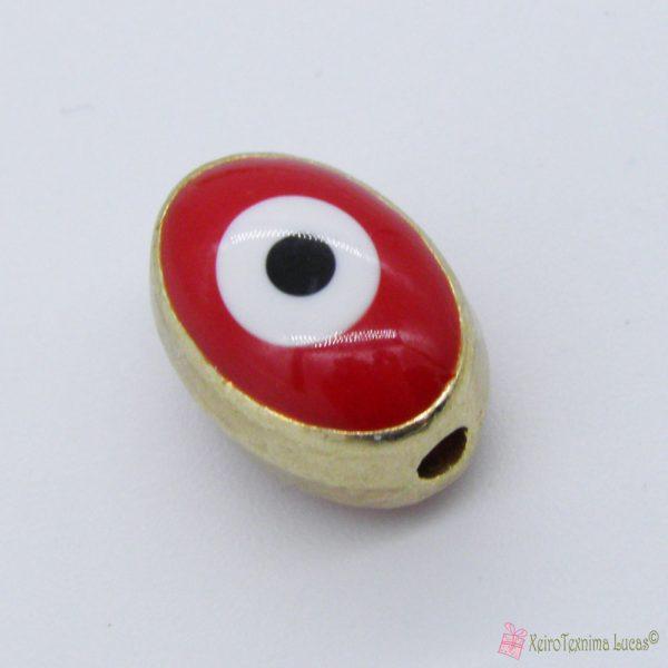 Κόκκινη μεταλλική χάντρα μάτι