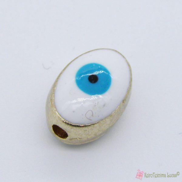 Λευκή μεταλλική χάντρα μάτι