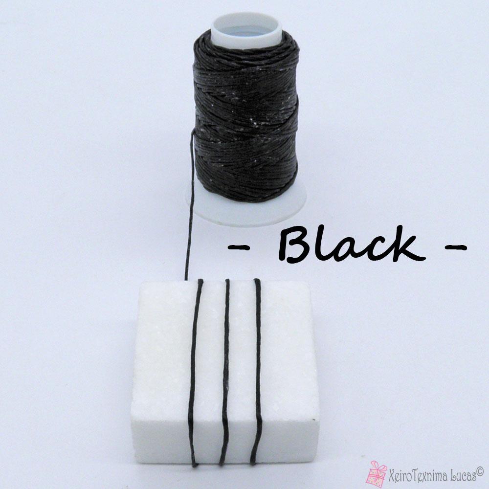 μαύρο κέρινο κορδόνι για μακραμέ