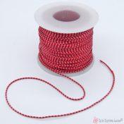 Συνθετικό δίχρωμο κορδόνι λευκό/ κόκκινο