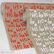 λινό χριστουγεννιάτικο ύφασμα ho ho ho