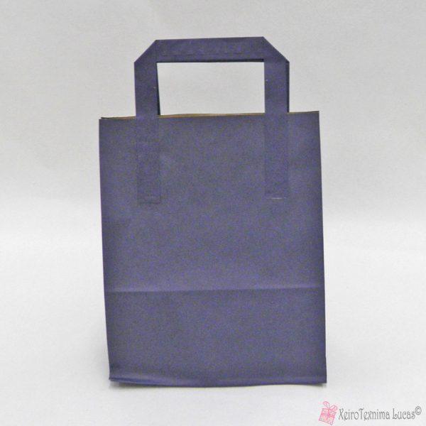 μπλε χάρτινες τσάντες με πλακέ χεράκι