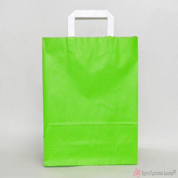 λαχανί χάρτινες τσάντες με πλακέ χεράκι