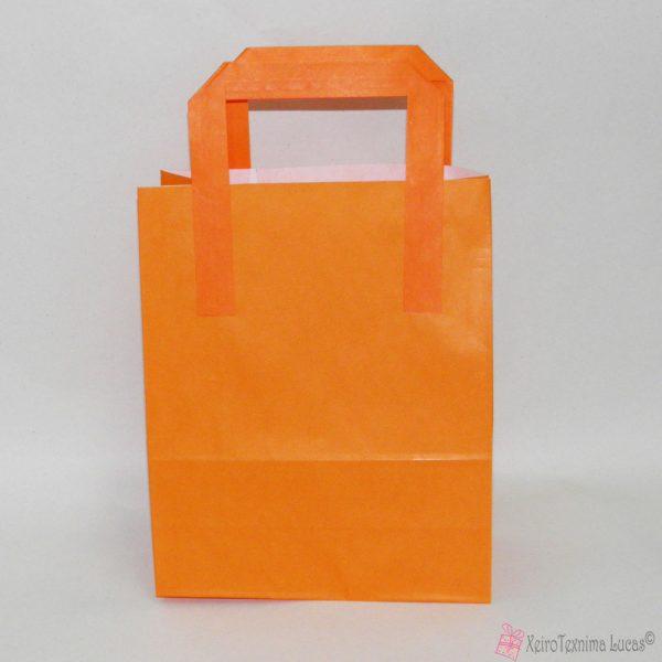 πορτοκαλί χάρτινες τσάντες με πλακέ χεράκι