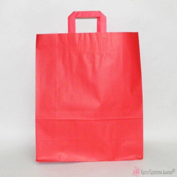 κόκκινες χάρτινες τσάντες με πλακέ χεράκι