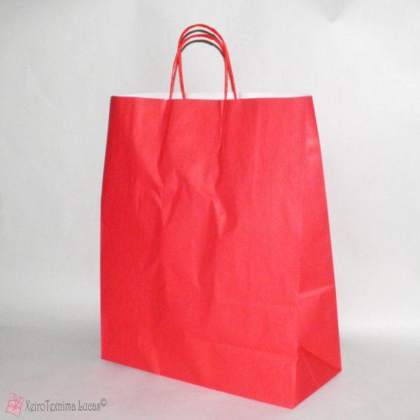 κόκκινες χάρτινες τσάντες με στριφτό χεράκι