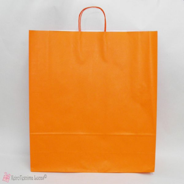 πορτοκαλί χάρτινες τσάντες με στριφτό χεράκι