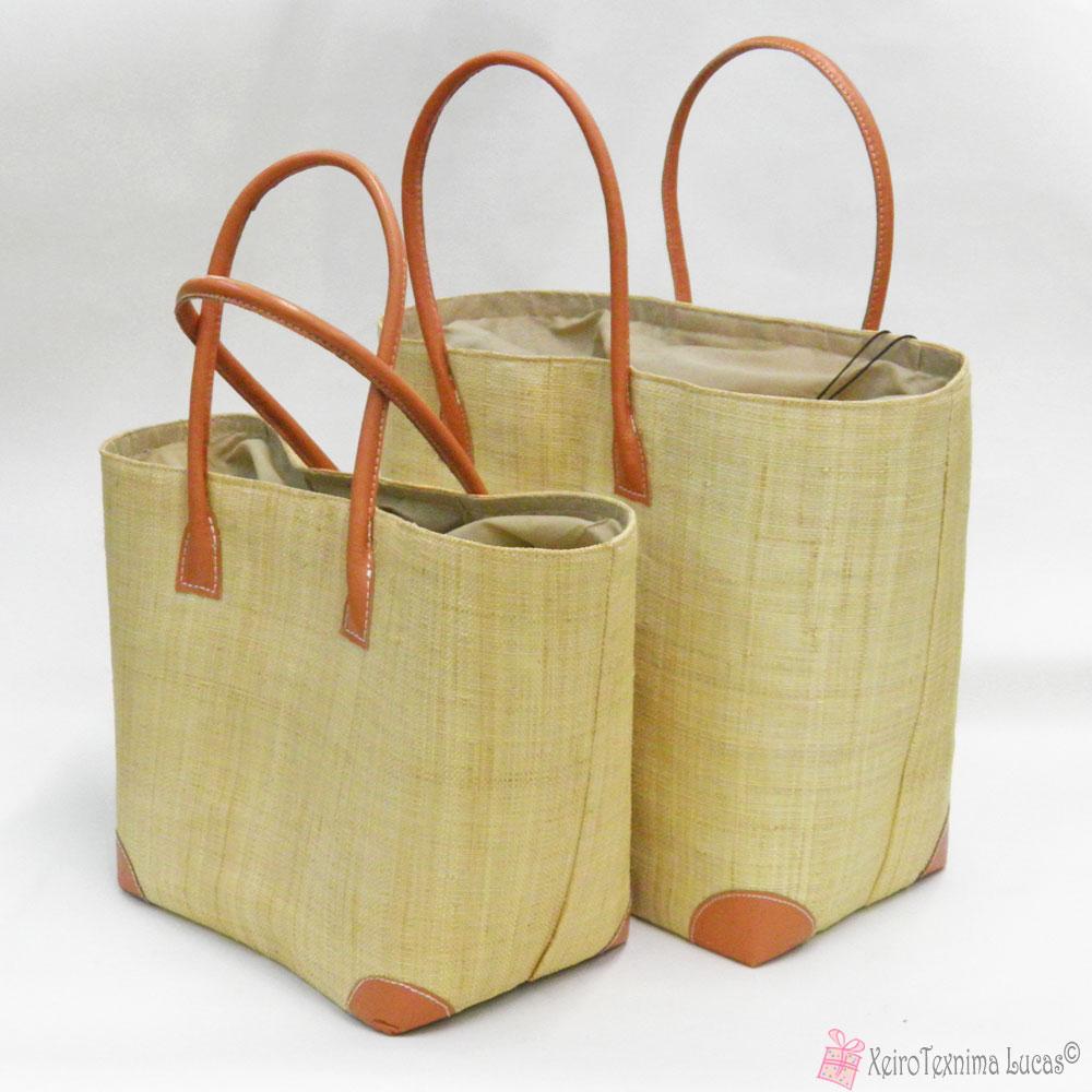 ecb38b8625 Ψάθινες καλοκαιρινές τσάντες από ψάθα μαδαγασκάρης σε μπεζ χρώμα
