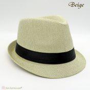 Μπεζ καπέλο με μαύρη κορδέλα