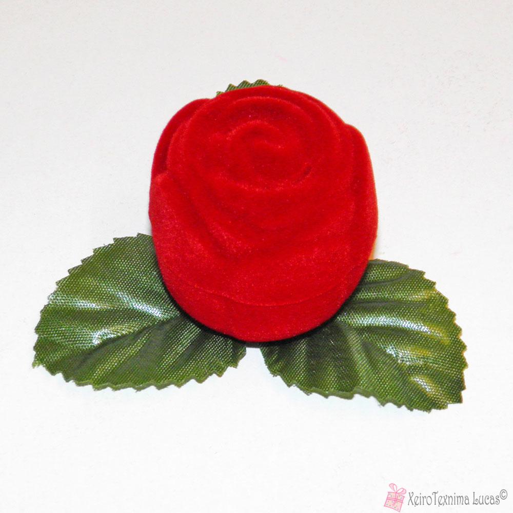 Βελούδινο κουτί μπιζού τριαντάφυλλο