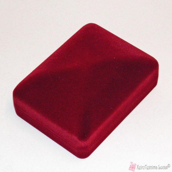 Μπορντό βελούδινο κουτί κατάλληλο για σταυρό