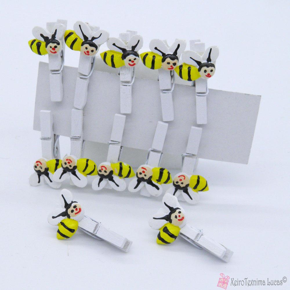 ξύλινα μανταλάκια με μελισσάκια