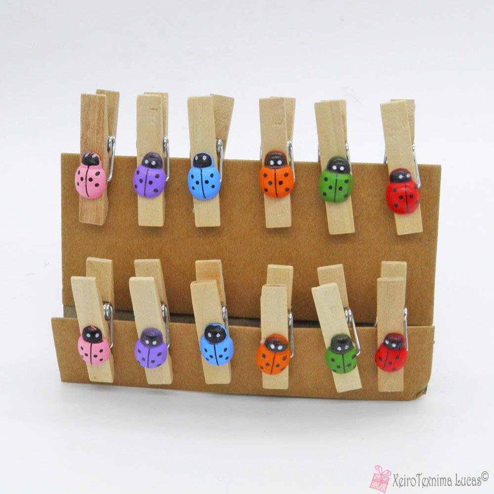 ξύλινα μανταλάκια με πολύχρωμες πασχαλίτσες
