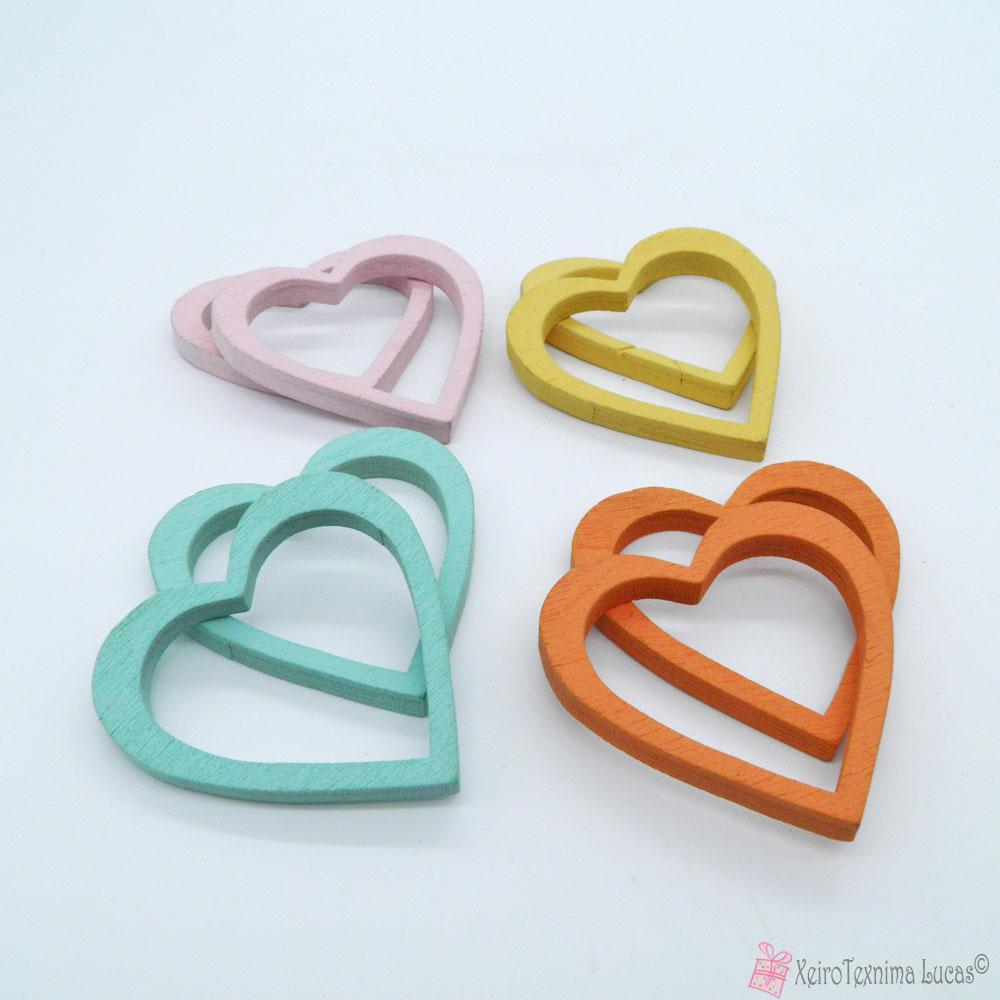 Ξύλινες πολύχρωμες καρδιές
