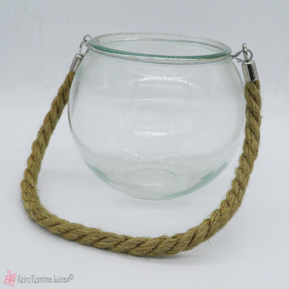 κρεμαστή γυάλα με σχοινί