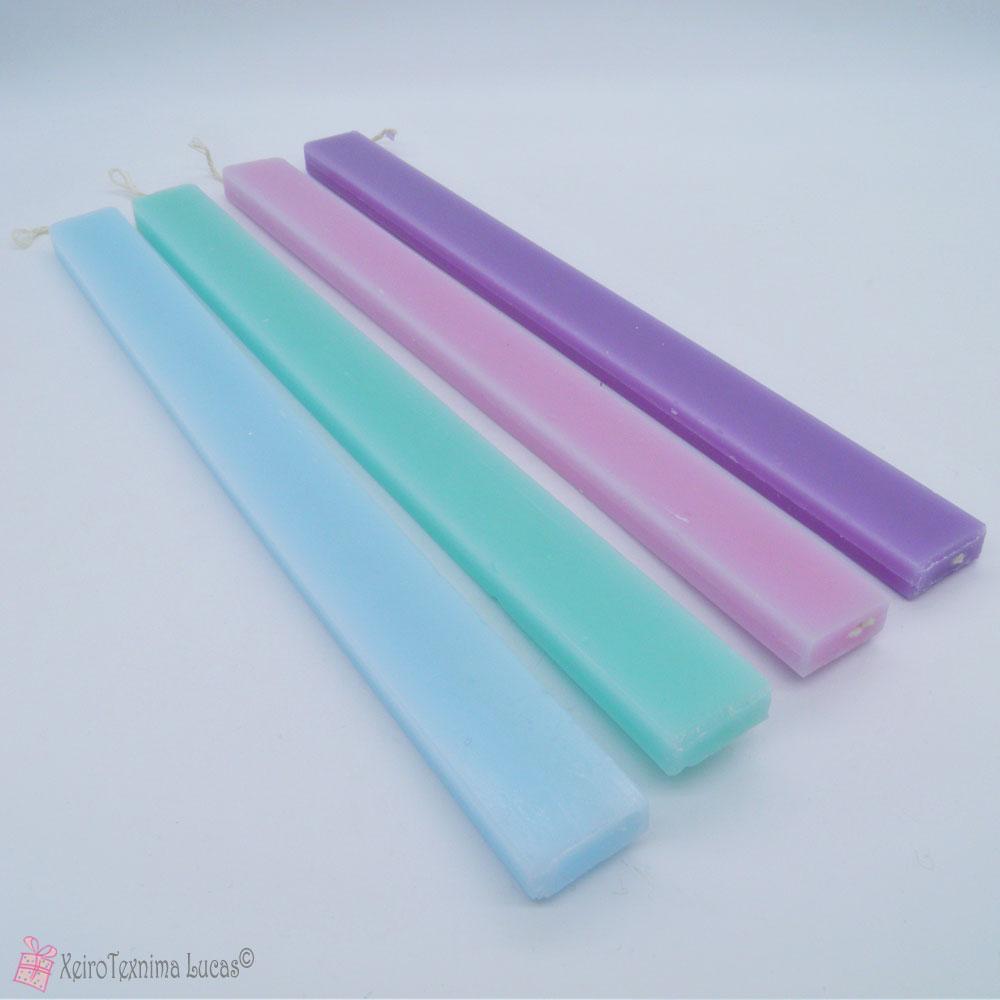 Πλακέ χρωματιστές πασχαλινές λαμπάδες