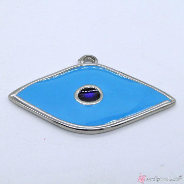 ασημί μεταλλικό μάτι με γαλάζιο σμάλτο