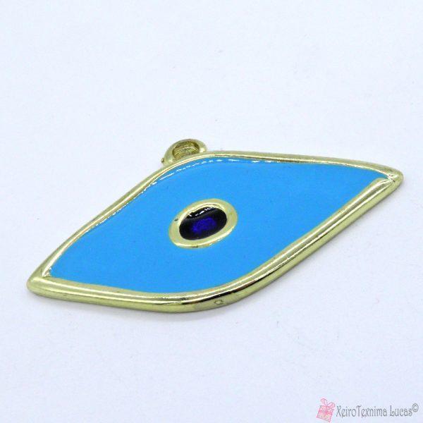 χρυσαφί μεταλλικό μάτι με γαλάζιο σμάλτο