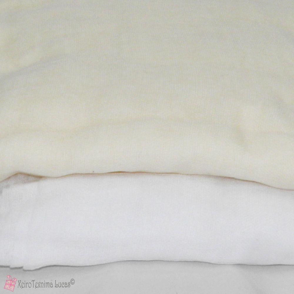 Εκρού και λευκή γάζα για διακόσμηση