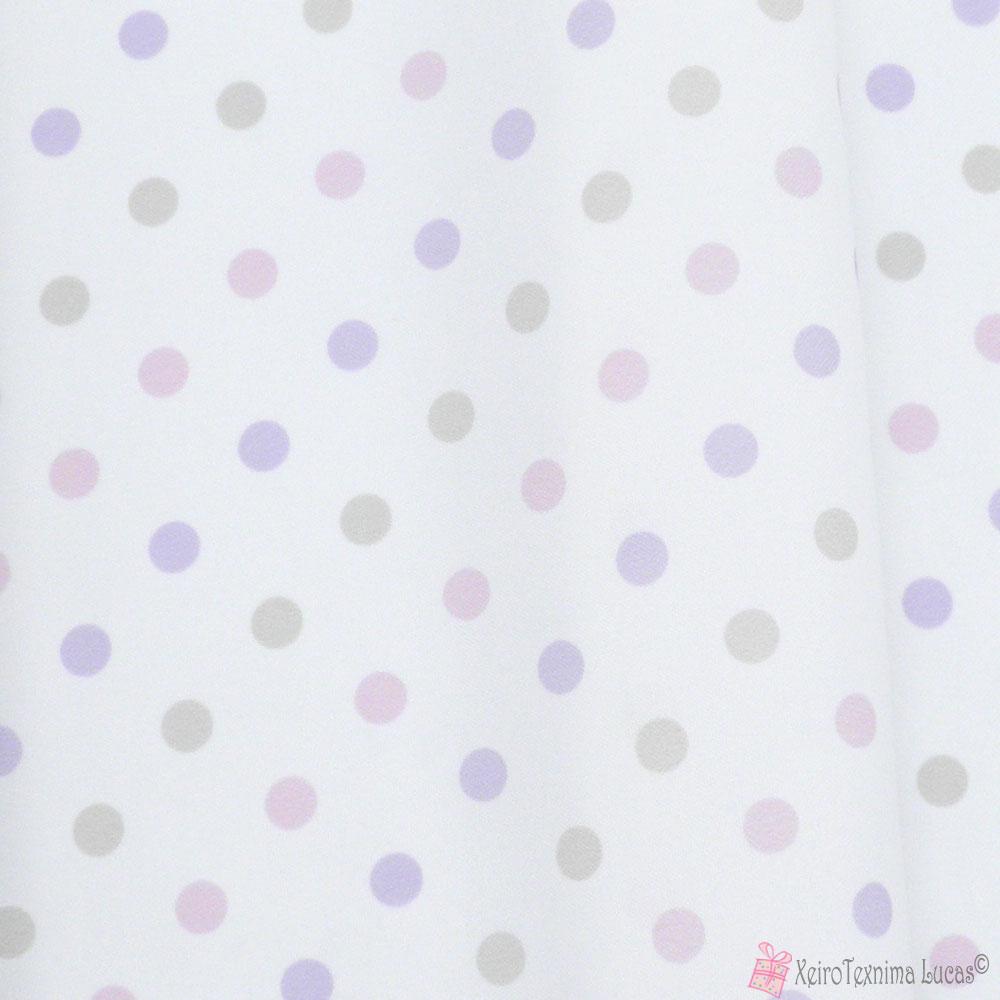 Ροζ λιλά πουά βαμβακερό ύφασμα