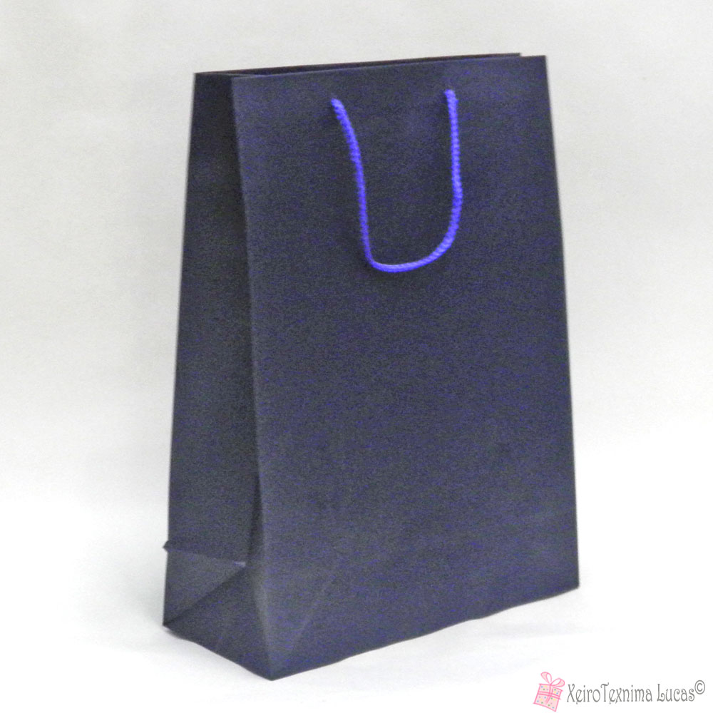 Μπλε χάρτινες τσάντες με κορδόνι