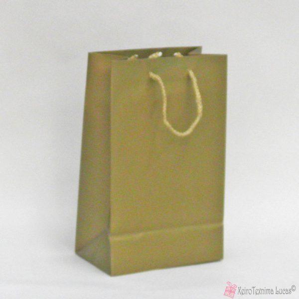 Χρυσές χάρτινες τσάντες με κορδόνι
