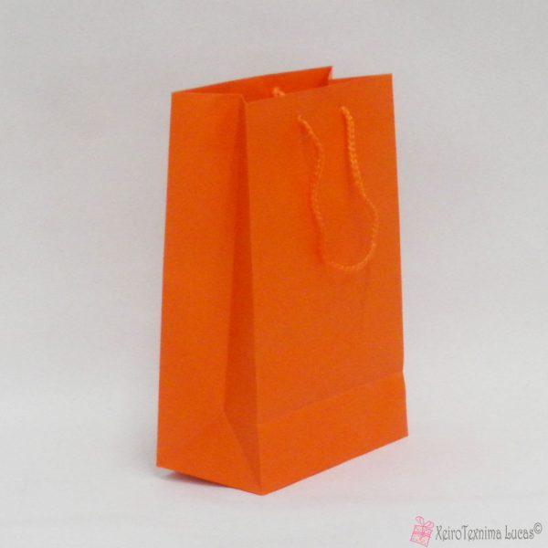 Πορτοκαλί χάρτινες τσάντες με κορδόνι