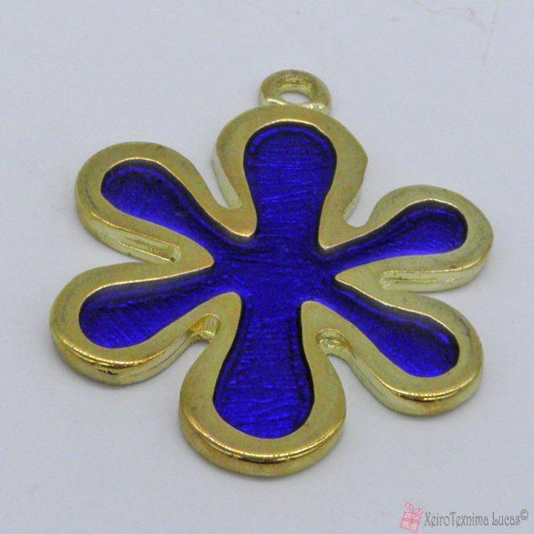 Χρυσό μεταλλικό λουλουδάκι με μπλε σμάλτο