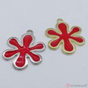 Μεταλλικά λουλουδάκια με κόκκινο σμάλτο