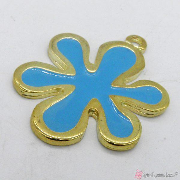 Χρυσό μεταλλικό λουλουδάκι με γαλάζιο σμάλτο
