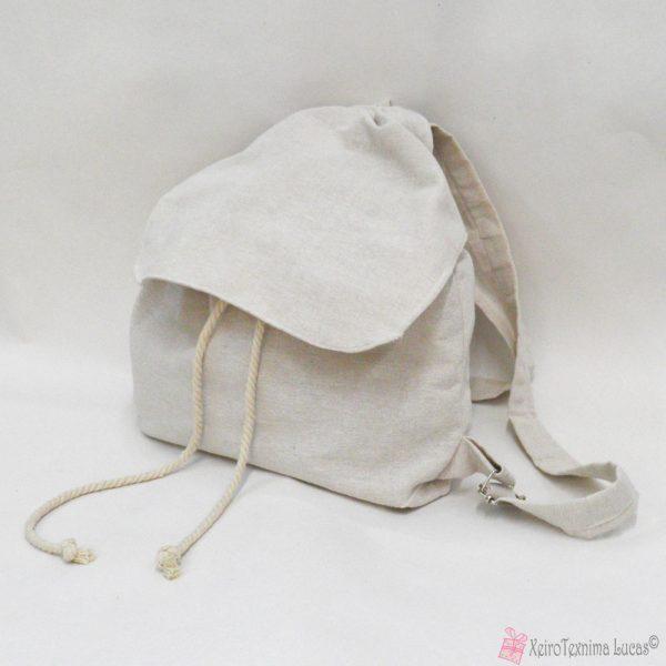 Υφασμάτινη λινή τσάντα πλάτης