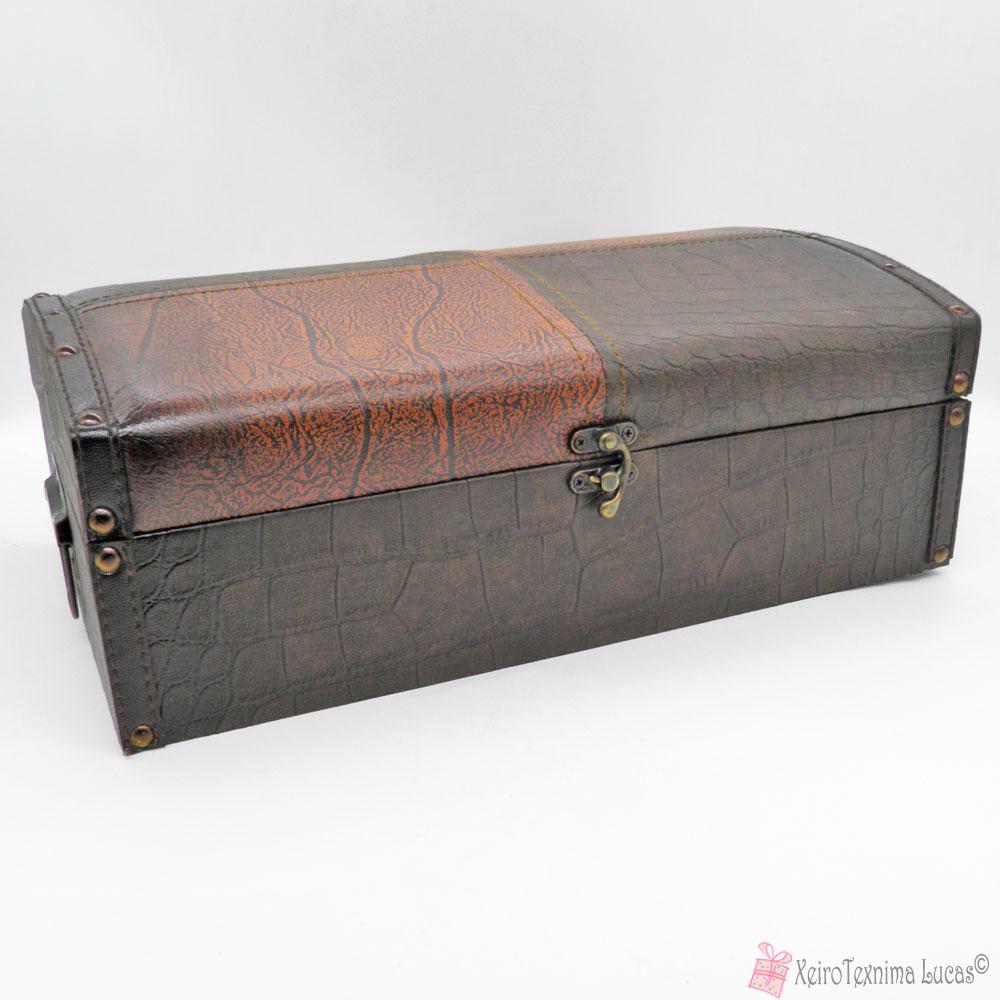 Ξύλινο κουτί με δερμάτινη επένδυση