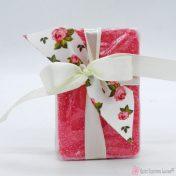ροζ αρωματικό σαπουνάκι με σατέν και λουλουδάτη κορδέλα