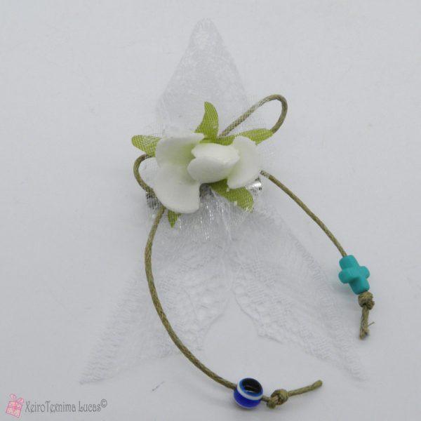 Μαρτυρικά βάπτισης λευκό με λουλούδι και δαντέλα