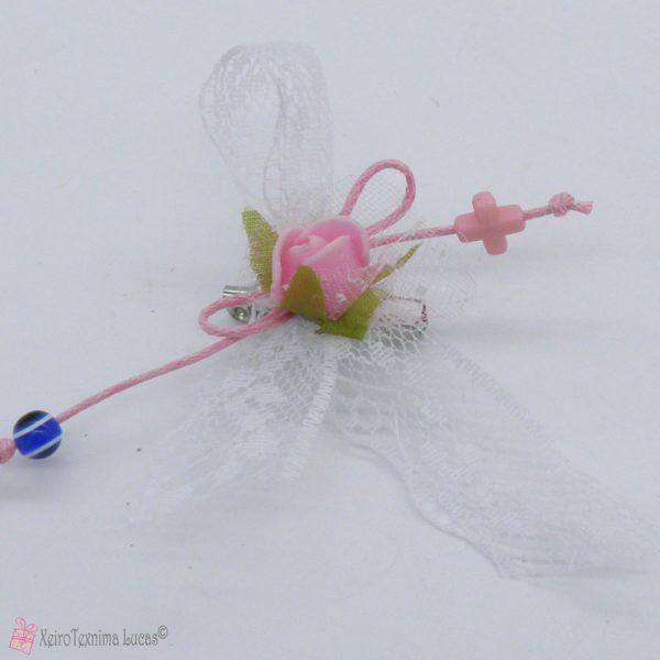 Μαρτυρικά βάπτισης με ροζ λουλούδι και δαντέλα