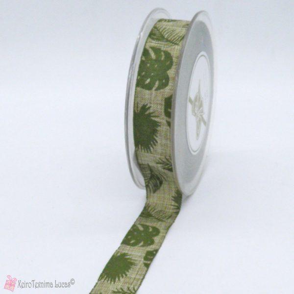 μπεζ λινή κορδέλα με τροπικά φύλλα