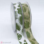 λινή κορδέλα με τροπικά φύλλα