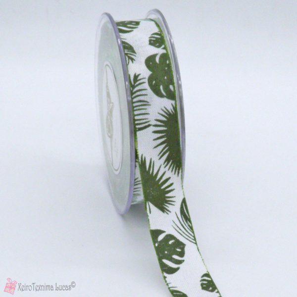 λευκή λινή κορδέλα με τροπικά φύλλα