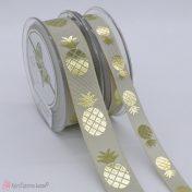 μπεζ γκρο κορδέλα με χρυσοτυπία ανανά