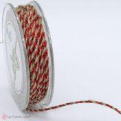 Δίχρωμο κορδόνι με γιούτα φυσικό κορδόνι και κόκκινο μεταλλιζέ κορδόνι