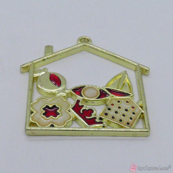 Χρυσό μεταλλικό σπίτι με μπορντό και εκρού σμάλτο