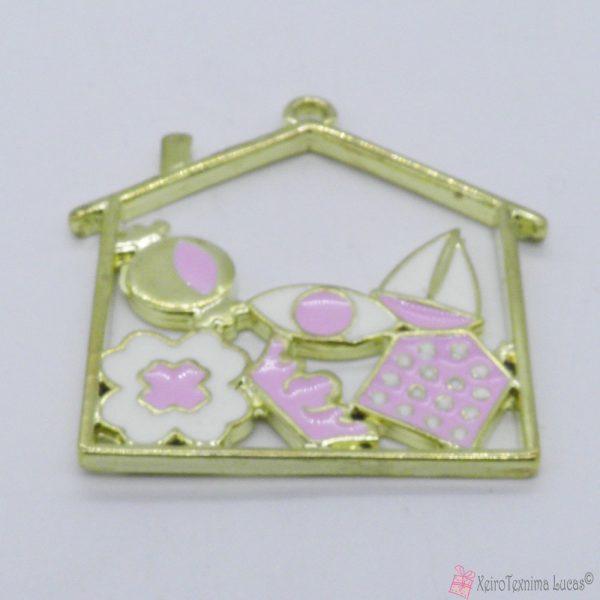 Χρυσό μεταλλικό σπίτι με ροζ και λευκό σμάλτο