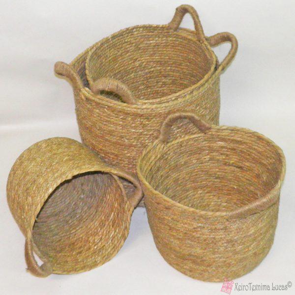 Μαλακά στρογγυλά πανέρια, κατασκευασμένα από σχοινί