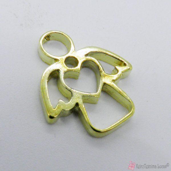 χρυσό μεταλλικό αγγελάκι με καρδιά