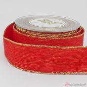 κόκκινη πλισέ κορδέλα με χρυσή ούγια