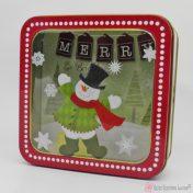 Μεταλλικό κουτί με χιονάνθρωπο Merry Christmas
