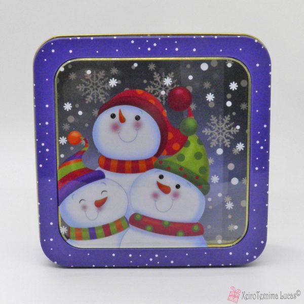 Μεταλλικό κουτί με χιονάνθρωπο
