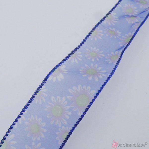 μπλε οργάντζα κορδέλα με λουλούδια