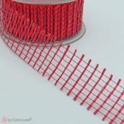 κόκκινη πλαστική κορδέλα πλέγμα