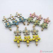 Ξύλινα μανταλάκια με λουλούδια